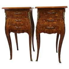 Pair of French Marquetry Inlaid Side Tables, Night Stands, Ormolu, Cira 1930
