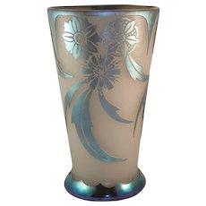 Steuben Blue Aurene over Alabaster Vase. #6777