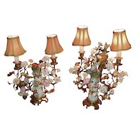 Pair of French Porcelain Bird Lamps