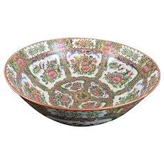 "Chinese Blue Dragon/ Rose Medallion Large Punch Bowl, Perfect, 15 3/4"" Diameter"
