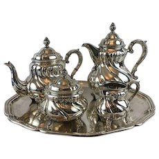 .830 Silver Tea Set with Silverplate Tray. 20th Century