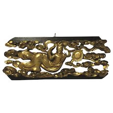 Japanese Carved Wood and Gilt Temple Transom Carving of Apsara. Meiji Period