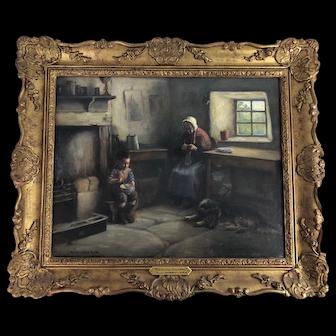 "Original Oil on Canvas, ""Helping Grandma"" Henry John Dobson, Scottish, Antique"