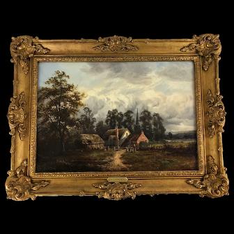 Oil on Canvas, Church Cottage in Landscape, William Langley Circa 1900 British