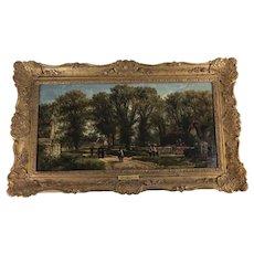 Oil Painting, Brailes, Warwickshire, Street Scene, Cottage William Pitt, 1876, UK