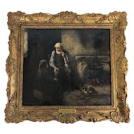 "Original Oil on Canvas ""Grandfather's Tales"" Henry John Dobson, Scottish Antique"