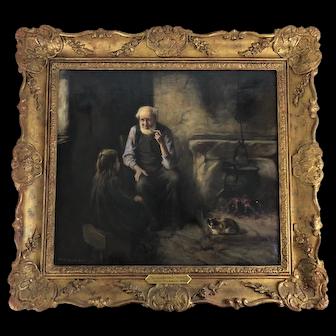 "Original Oil on Canvas ""Grandfather's Tales"" Henry John Dobson, Scottish Antique"