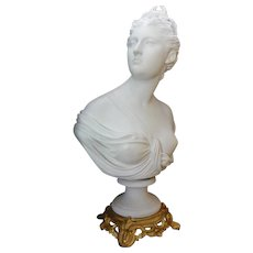 19th Century Large Parian Bisque Bust of Diana