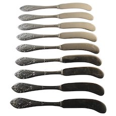 Set of 9 Butter Spreaders.  Watson Sterling Virginia Pattern