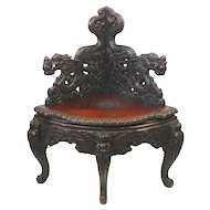 Japanese Carved Dragon Corner Chair
