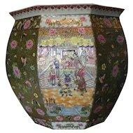 Large Chinese Porcelain Fish Bowl 20th Century