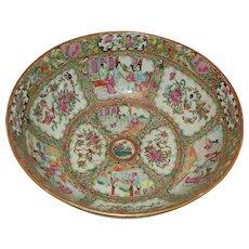 Large Chinese Rose Medallion Punch Bowl Circa 1870