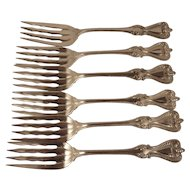 Six Salad Forks. Towle Sterling Silver Old Colonial Pattern
