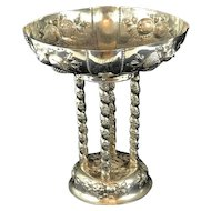 German 800 Silver Compote. Repousse Fruit and Leaves. Circa 1880.