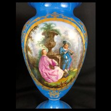 Large Pair of Sevres Style Porcelain Urns/ Lamps, 19th Century, French, Blue