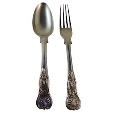 Fork and Spoon.  Chinese Export Silver.