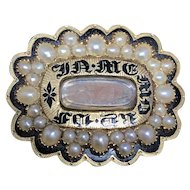 Mourning Pin. 14k Gold, Enamel, and Pearl. Victorian. 3.7 dwt