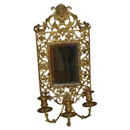 Italian Wall Scone with Mirror and Candle Arms. 19th Century.