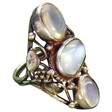 Large Arts and Crafts Bernard Instone Silver Natural Moonstone Ring ca 1910 Edwardian Era Art Nouveau Fine Jewelry