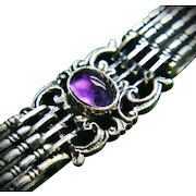 Rare Antique Gustav Hauber Fine Sterling Silver Amethyst Cabochons Jugendstil Art Nouveau Bracelet ca 1905 Edwardian Era Art Jewelry