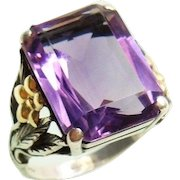 Arts And Crafts Bernard Instone 18k Gold Sterling Silver Amethyst Ring 1930's Fine Jewelry