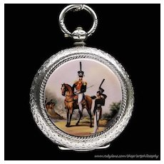 Rare Antique Swiss Enamel 935 Silver Famous Russian Hussar Hero Denis Davydov Pendant or Pocket Watch 19th Century Fine Jewelry