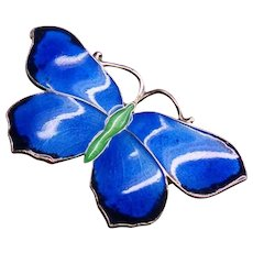 John Atkins and Sons Art Deco Nouveau Guilloche Royal Blue Enamel Sterling Silver Butterfly Brooch Pin 1920's JA&S Fine Jewelry