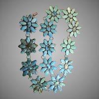 Amazing Federico Jimenez Sterling & Turquoise Flower Belt
