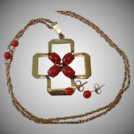 Winard Art Deco 12k Gold-Filled & Coral Necklace With Matching 14k Coral Stud Earrings