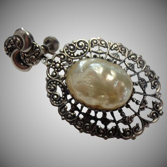 Ornate Victorian Revival Faux Baroque Pearl Statement Earrings