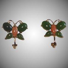 Sweet Genuine Jade & Coral Butterfly Clip Earrings