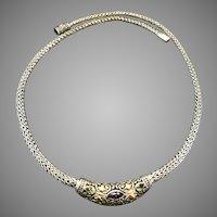 Samuel  Benham  Designer Sterling, 18k Gold and Gemstone Statement Necklace