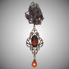 Gorgeous Art Deco Brass & Amber Glass Sautoire Necklace