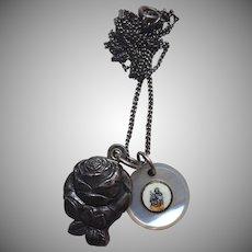 Unusual Catholic Sliding Medal Plus Hand Painted Pearl Jesus Charm Necklace