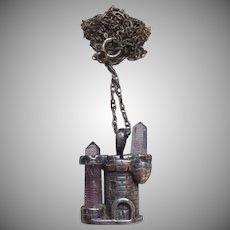 Sterling Rock Crystal & Amethyst Castle Necklace
