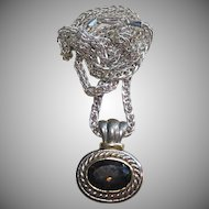Lovely Sterling & 14k Gold Smokey Topaz Necklace