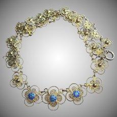 Vintage Enamel & Gilded 835 Silver Filigree Necklace