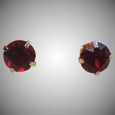Lovely 14K Gold & Synthetic Ruby Stud Earrings