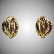 Lovely 18K Gold Braided Half Hoop Earrings