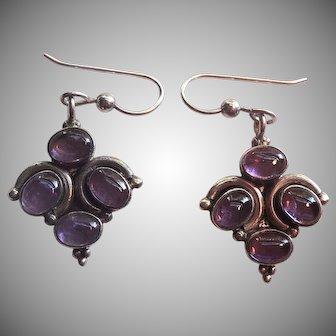 Pretty Sterling & Cabochon Amethyst Pierced Earrings