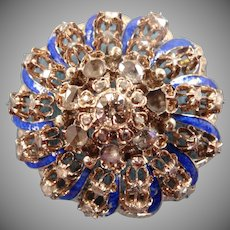 Victorian 10k Gold, Enamel And Mine Diamond Cluster Brooch - Collector's Estate