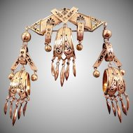 Victorian 14k Gold Taille D'epargne Enamel Dangle Brooch - Collector's Estate