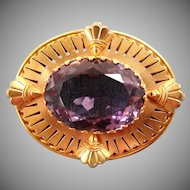 Early 1900's 14k Gold And Amethyst Watch Pin - Collector's Estate