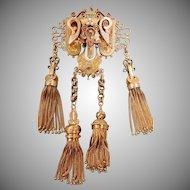 Amazing Victorian Solid Gold Huge Tassel Brooch - Collector's Estate