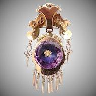 Victorian 18k Gold Amethyst And Diamond Brooch