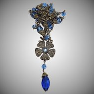 Wonderful Art Deco Cobalt Glass & Filigree Sautoire Necklace