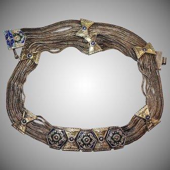 Wonderful Silver Tone & Enamel Collar Statement Necklace