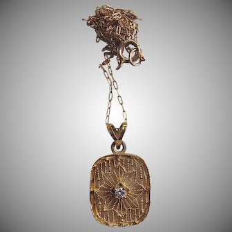 Art Deco 14K Gold & Diamond Filigree Necklace