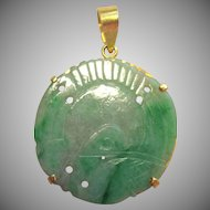 Beautiful 18K Gold & Carved JADE Pendant