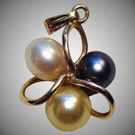 Lovely 14K Gold & Multi-Color Pearl Pendant